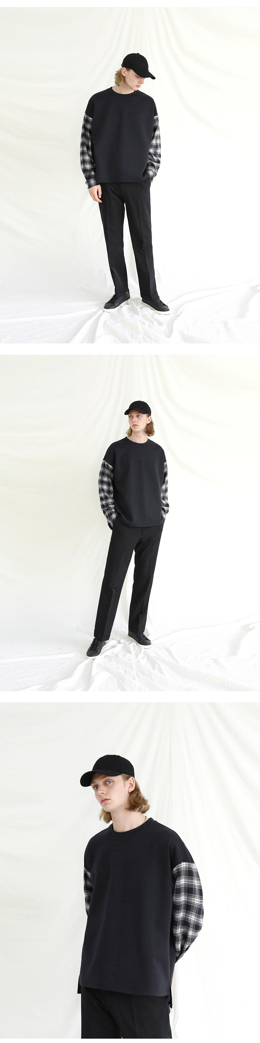 텐블레이드(TENBLADE) 오버핏 체크셔츠 레이어드 맨투맨_블랙