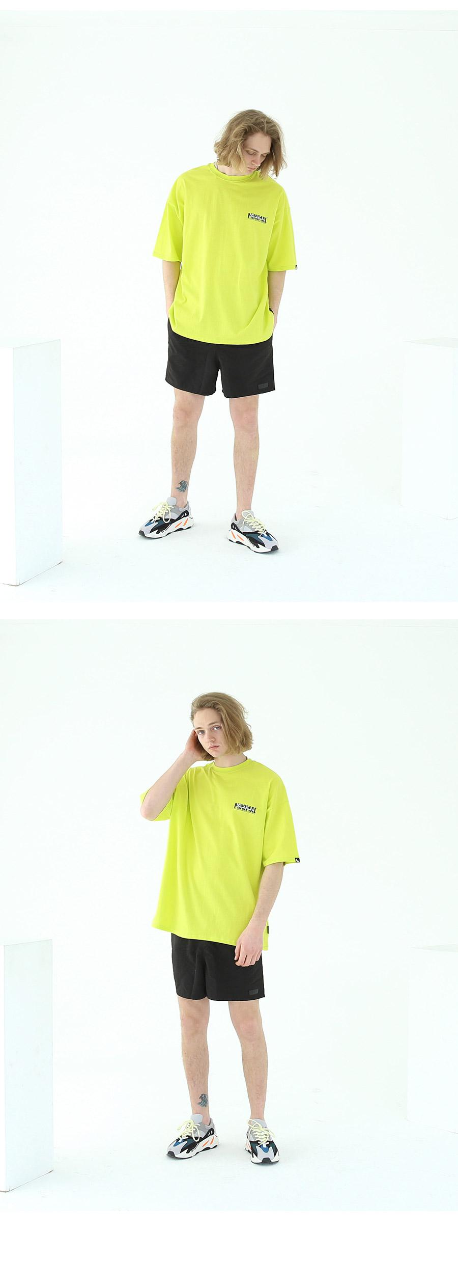 텐블레이드 오버핏 미니멀 반팔티-네온