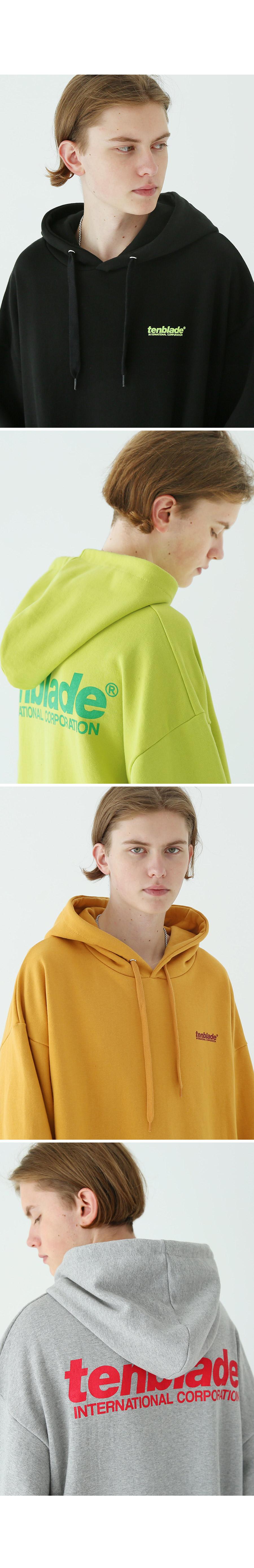 인터내셔널 프린트 후드 티셔츠 머스타드
